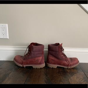 Maroon women's Timberlands